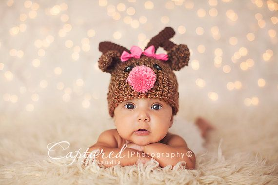 6604a9b70 Baby Girl or Boy Hat Rudolph The Red Nose Reindeer /Deer Hat ...
