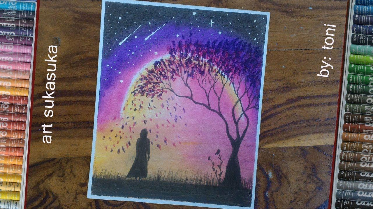 cara mudah menggambar langit malam yang sunyigambar step
