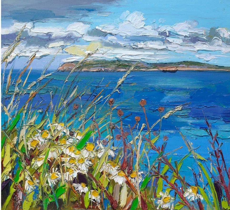 "Judith Bridgland, Rathlin Island with White Flowers, oil on linen 24"" x 26"""