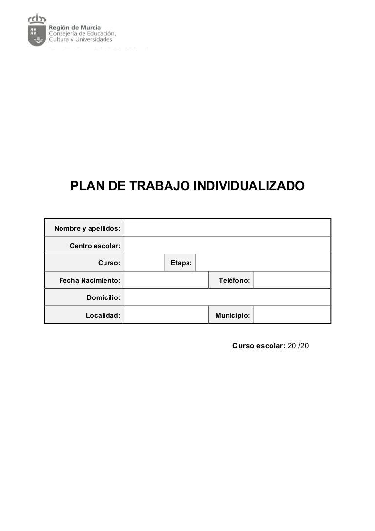 Modelo orientativo de Plan de Trabajo Individualizado que ha ...