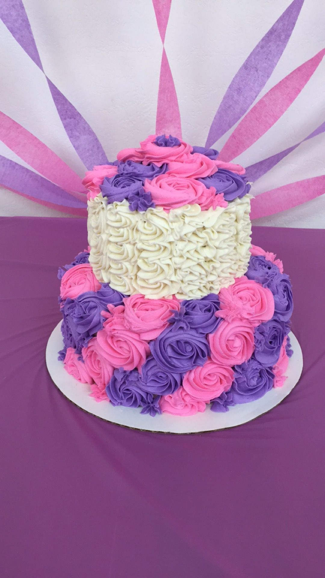 Rosette Cake Pink And Purple Pink Birthday Cakes Purple Cakes