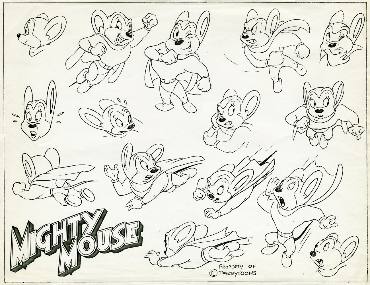 Mighty Mouse Coloring Pages Cartoon Art Styles Character Model