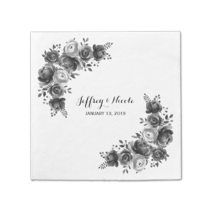 #country - #Rustic Black & White Floral Country Wedding Napkin