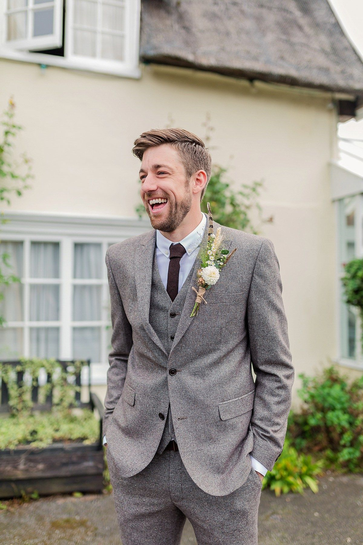 Groom Wears A Three Piece Grey Tweed Suit Photography By Kerrie Mitchell