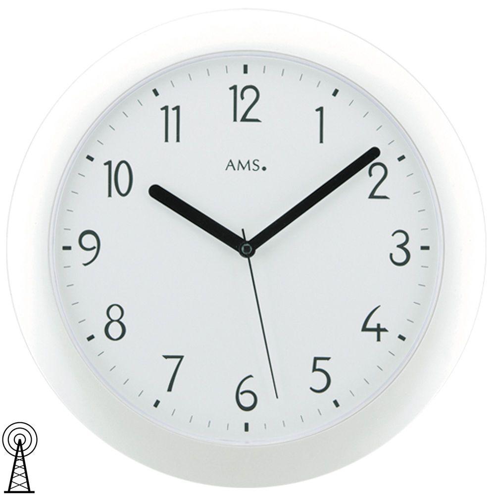 Ams 5844 Wanduhr Funk Funkwanduhr Analog Weiss Rund Wanduhr Uhr Wanduhren