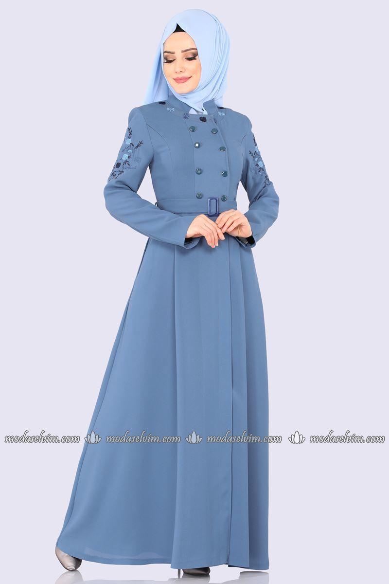Moda Selvim Cicek Nakisli Pardesu Ferace Pd41313 Mavi