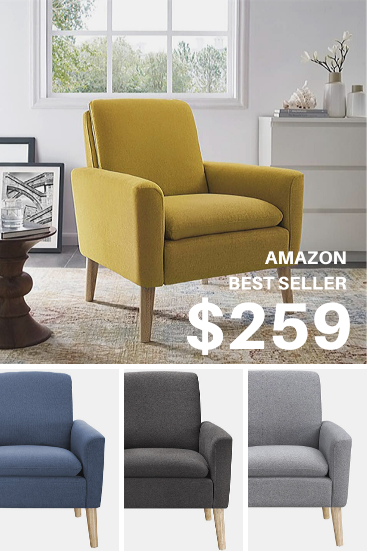 Modern Accent Fabric Single Sofa Comfy Upholstered Arm Chair Living Room Furniture Mustard Yell Arm Chairs Living Room Living Room Chairs Upholstered Arm Chair