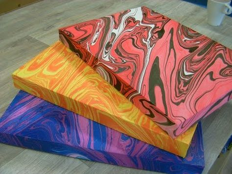 How To Create A Marbling Effect On Canvas With Acrylic Paint Part Of The Series Acrylic Painting Instructions Acrylic Painting Diy Marble Art Marble Painting