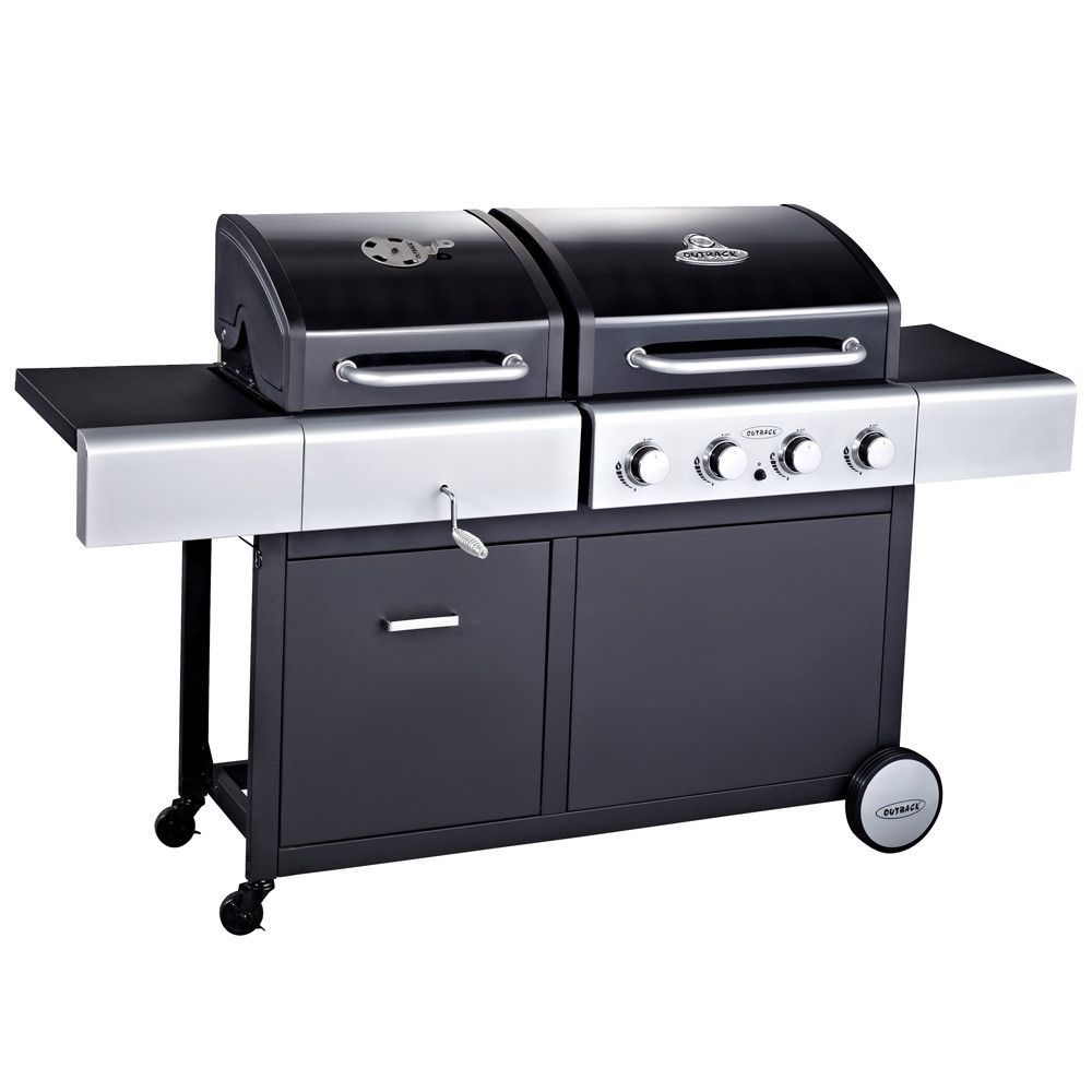 Outback Combi Duel Fuel Hooded 4 Burner Gas And Charcoal Bbq Grill Charcoal Bbq Grill Gas And Charcoal Bbq Gas Bbq