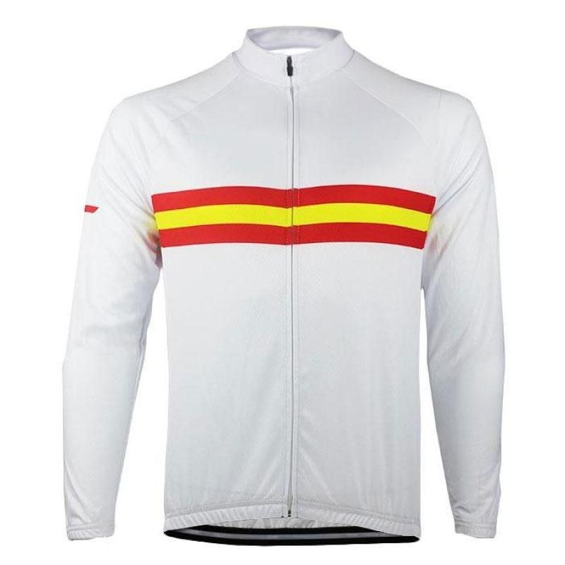 Keep warm on your next ride with this Men s Espana Spanish Flag Long Sleeve Cycling  Jersey 6cd0deec3