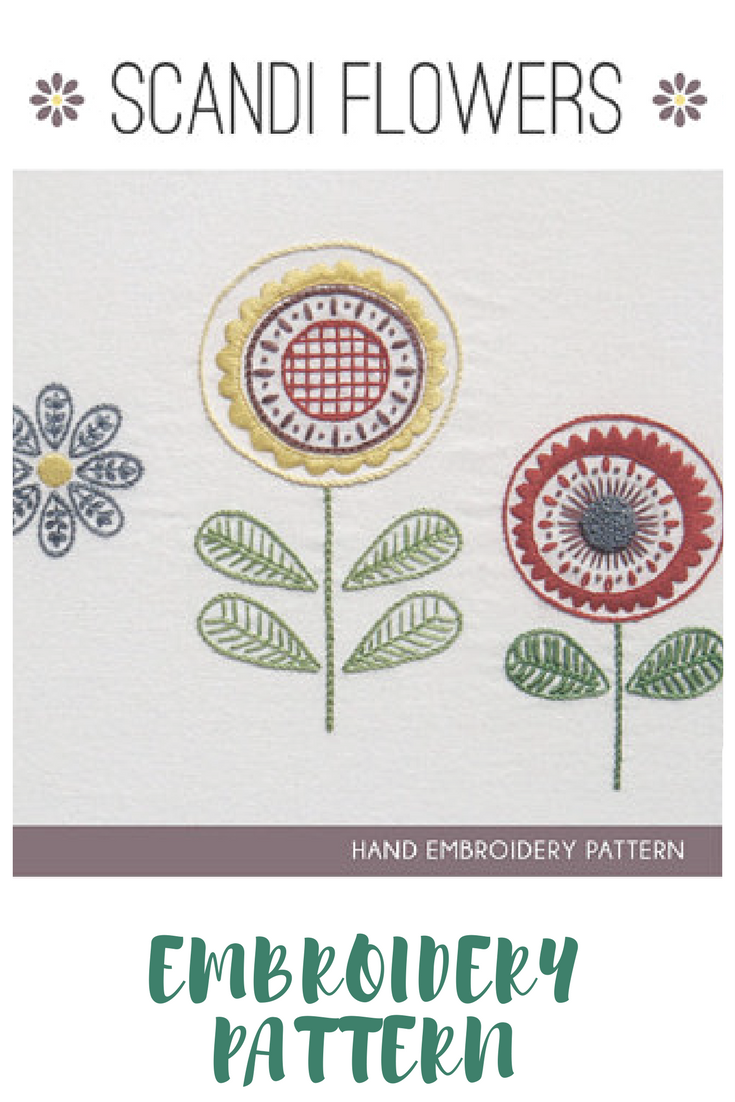 Scandi flowers embroidery pattern. Modern Scandinavian embroidery ...