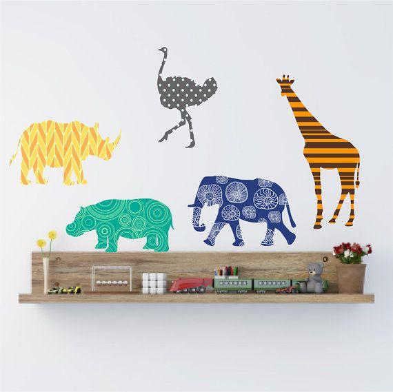 Animal Wall Decals Set Nursery Wall Decor Giraffe Wall Decals Jungle Animal Decals Baby Shower Gift Zoo Anim Animal Wall Decals Animal Decor Giraffe Decal