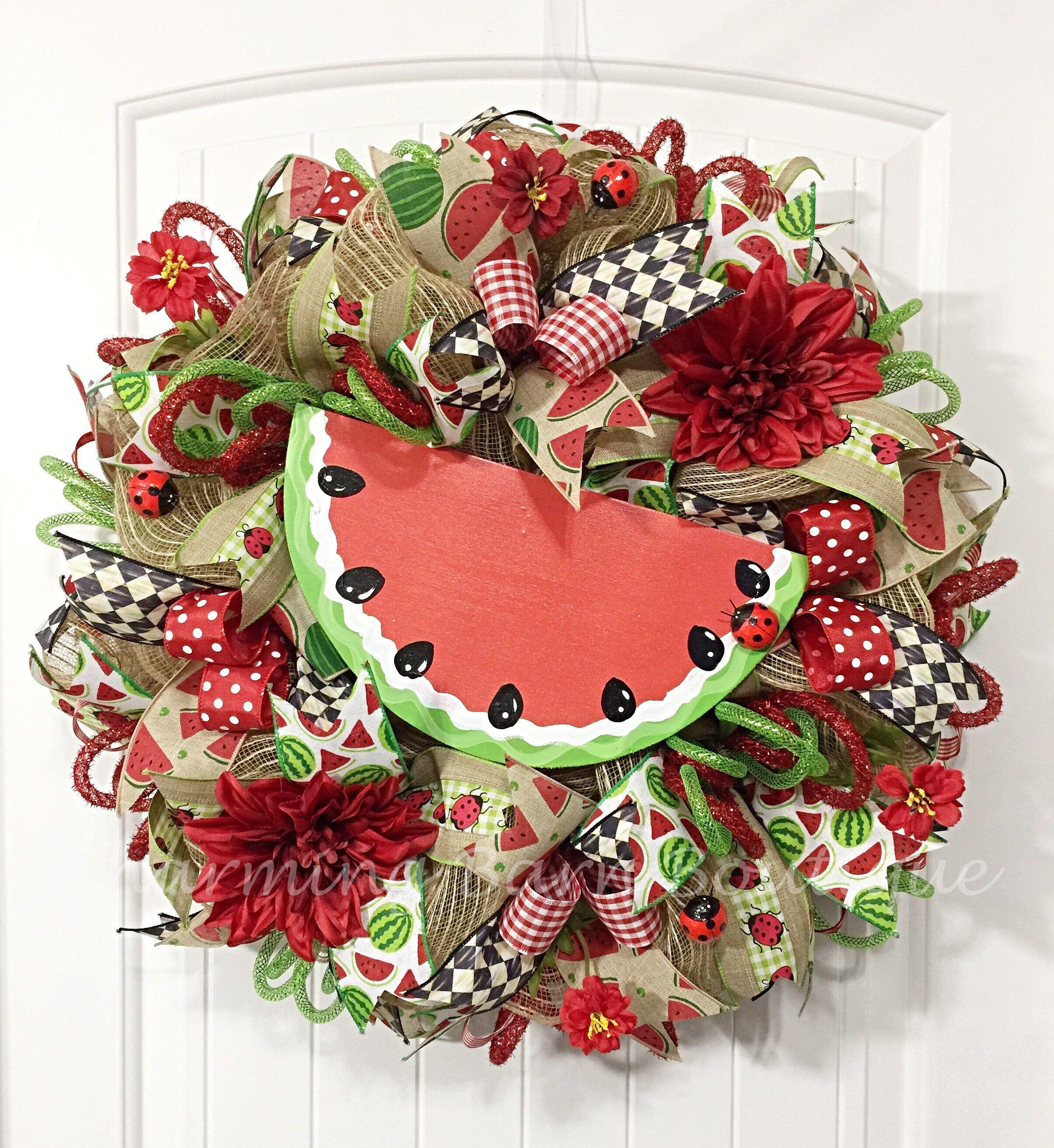 Spring wreath summer wreath welcome wreath watermelon wreath spring wreath summer wreath welcome wreath watermelon wreath front door wreath rubansaba