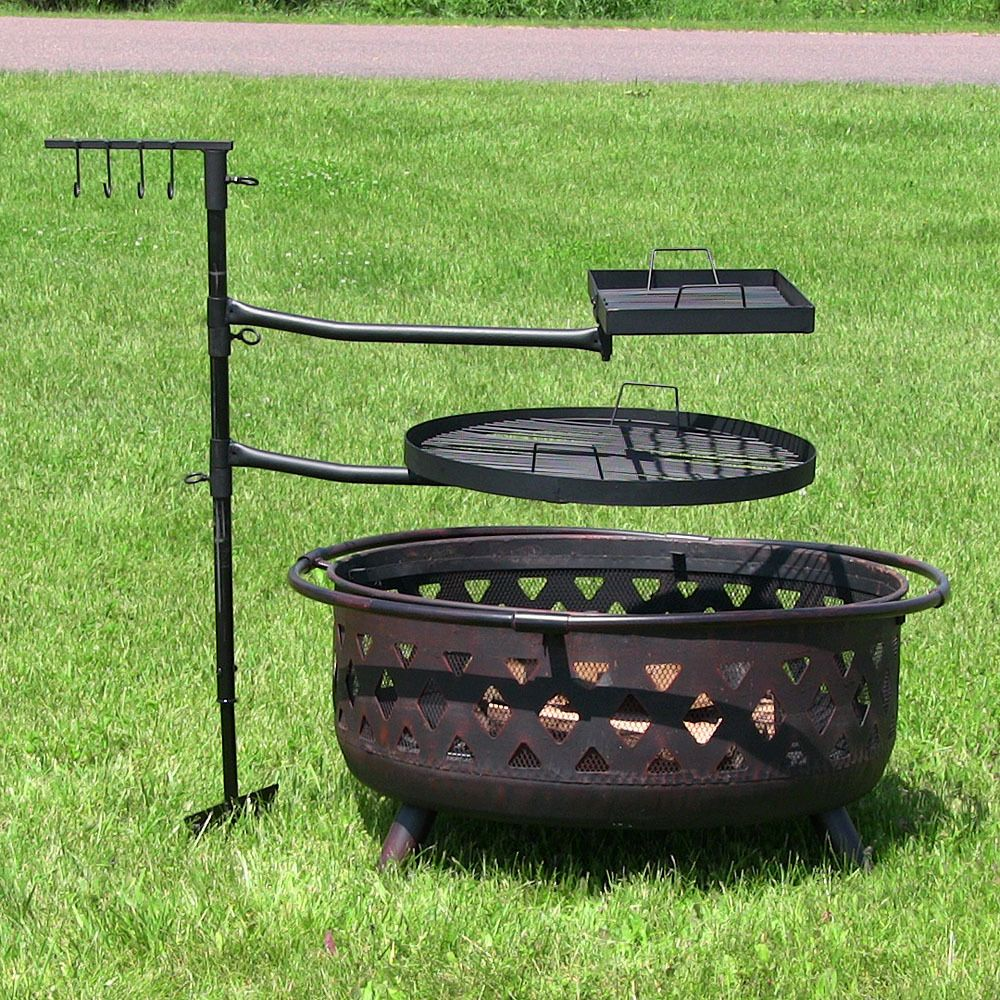 Sunnydaze Dual Campfire Cooking Swivel Grill System Fire Pit
