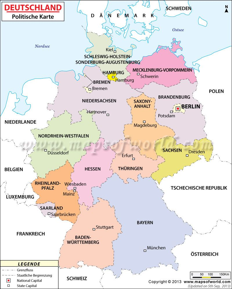 political map of germany in german language landkarte deutschland. Black Bedroom Furniture Sets. Home Design Ideas