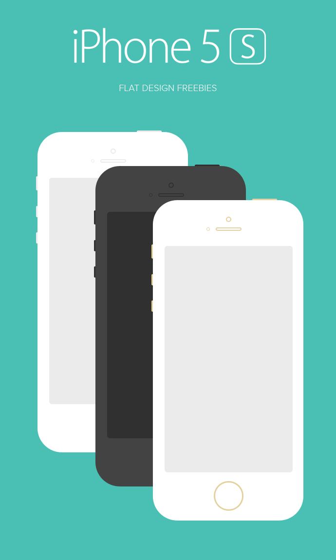 Iphone 5s Flat Design Psd Mockup Design Iphone 5s Template Design