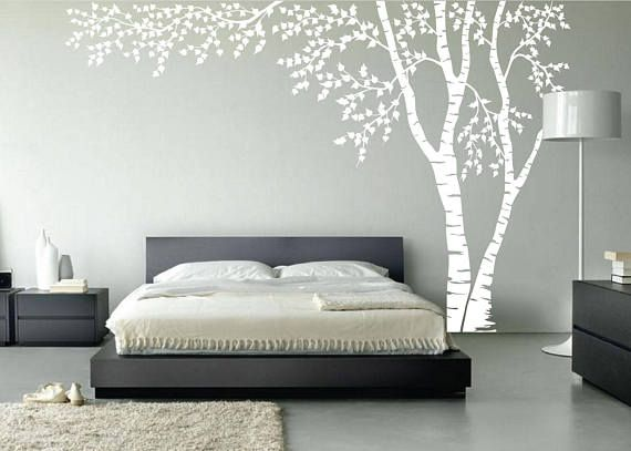 Birch Tree Nursery Wall Decal Forest Canopy Blowing Tree Leaves - Custom vinyl wall decals removable