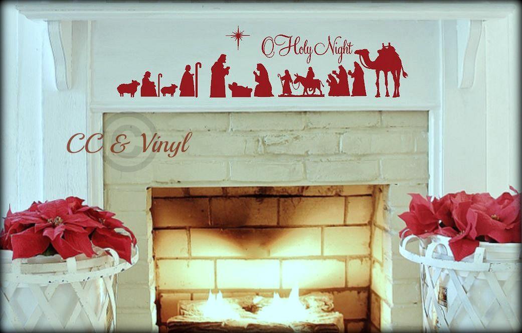 Christmas Nativity Scene Vinyl Wall Art Put On Wood My - Custom vinyl wall decals christmas