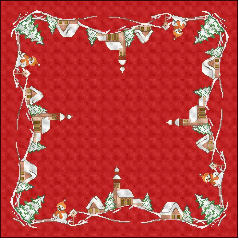 bordado mantel navidad pueblo