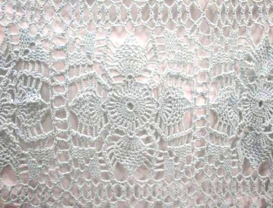Crochet Knit Blue Wheel Pattern Blanket Throw Bed Spread  Cotton  *MAKE  OFFER!
