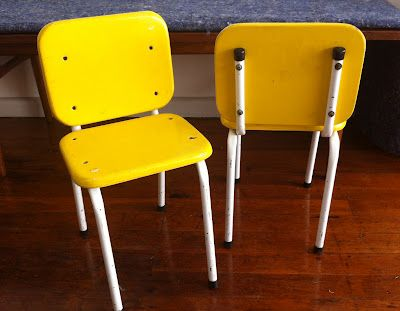 His new chairs - yellowy happy