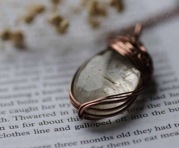 Rutilated Quartz Necklace, Natural Gemstone Necklace, Wire Wrapped Copper Jewelry, Woodland Rutilated Quartz Pendant #quartznecklace
