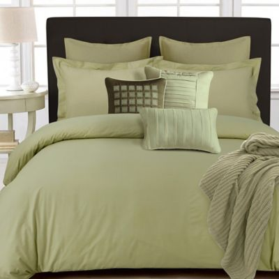 Tribeca Living 350 Thread Count Cotton Percale Reversible Queen Duvet Cover Set In Green