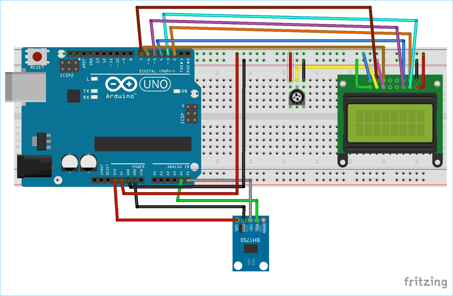 How To Use Bh1750 Ambient Light Sensor With Arduino Light Sensor Arduino Light Sensor Circuit