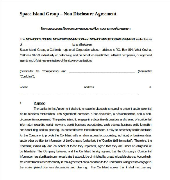 Free Non Compete Non Disclousre Agreement Template Word