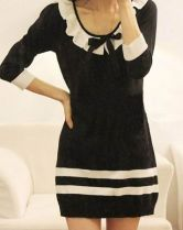 Black Striped Ruffle Collar Bow Front Knitted Bodycon Dress - Sheinside.com