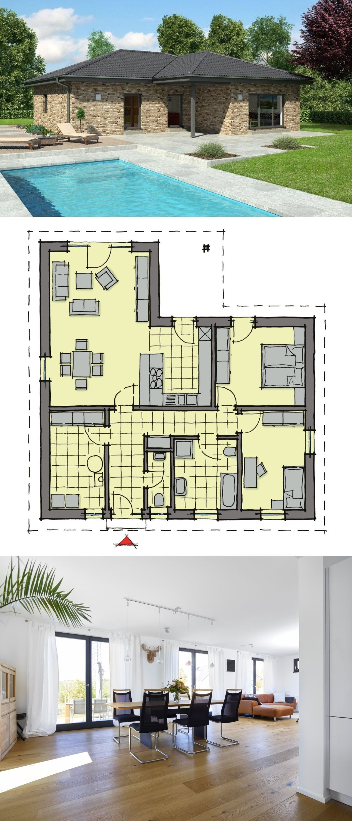 Bungalow house european style architecture with brick and stone facade design house plan calvados