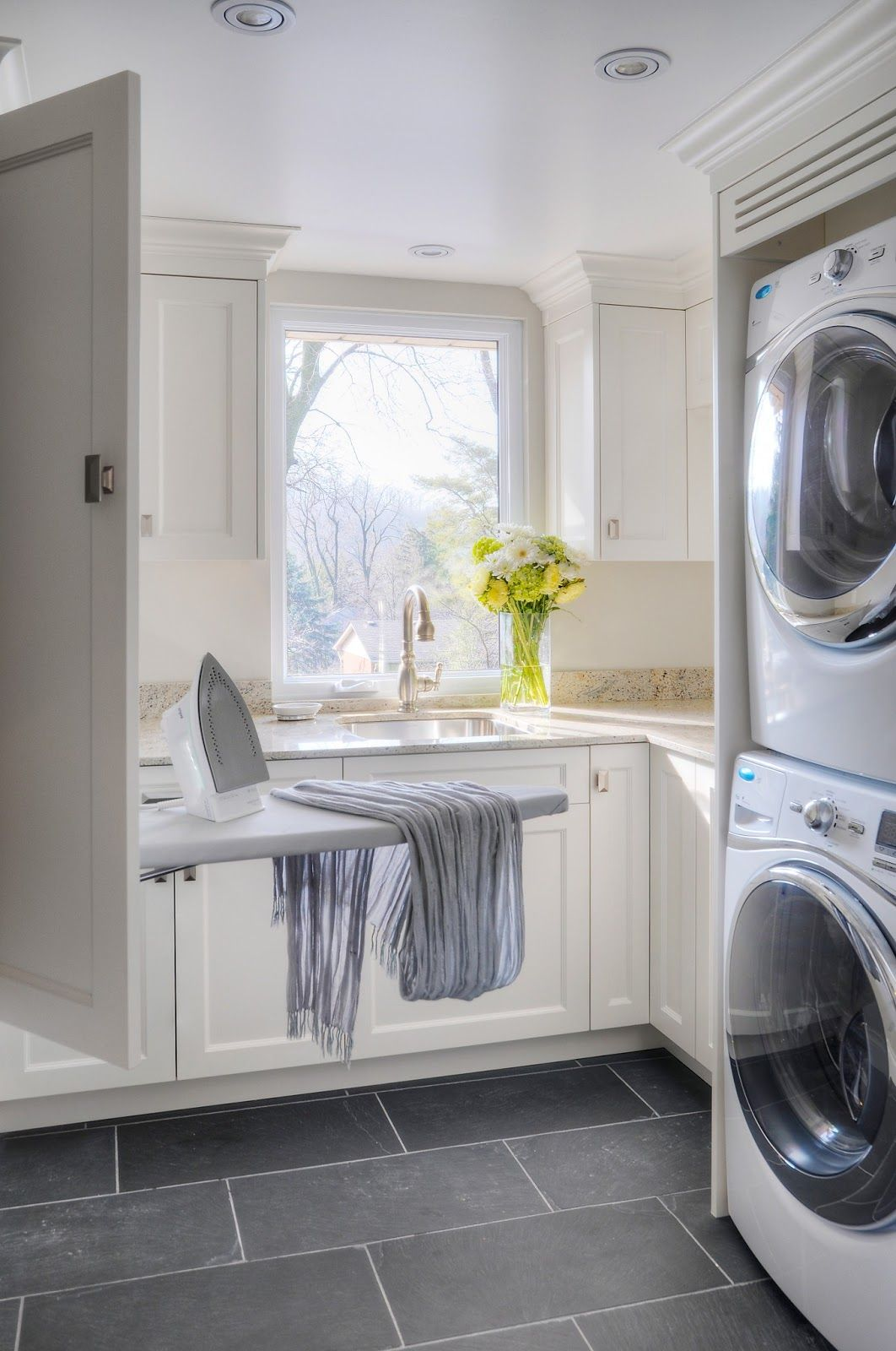 Window floors drop down ironing board laundry rooms for Laundry room floor ideas
