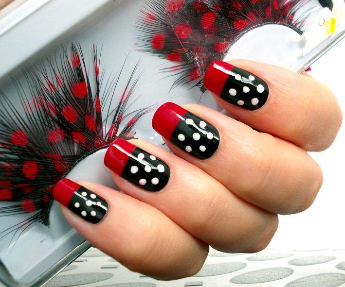 Red Black White Polka Dots Nail Art