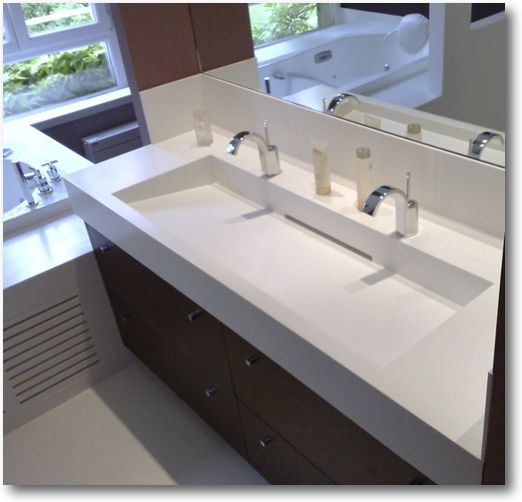 Plan vasque corian double crea diffusion sp cialiste for Plan double vasque salle de bain