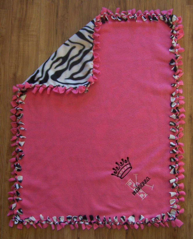 Custom Fleece Blanket Personalized Baby Blanket Custom Baby Blanket Monogram Fleece Baby Girl Blanket Zebra Sewing Fleece No Sew Fleece Blanket No Sew Blankets