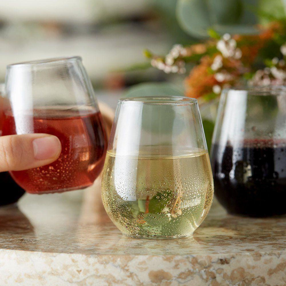 Visions 4 oz. Clear Plastic Stemless Wine Sampler Glass