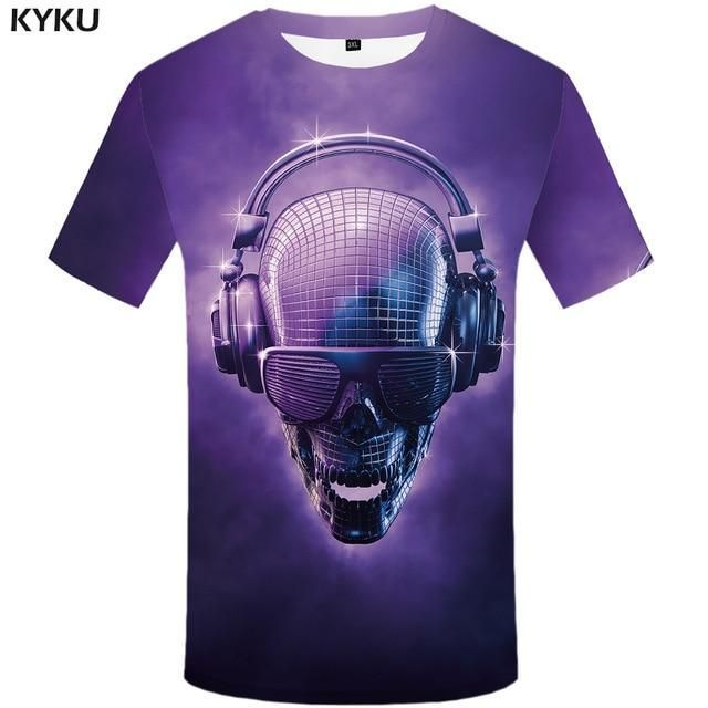 Skull Tshirt Men Purple Music TShirt Punk Rock Clothes Anime Light 3D Printed Tshirt Hip Hop Skull Tshirt Men Purple Music TShirt Punk Rock Clothes Anime Light 3D Printed...