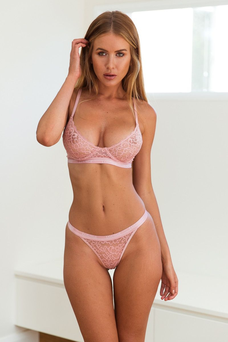 600a8f77aed Pink Balcony Bra and Thong Set