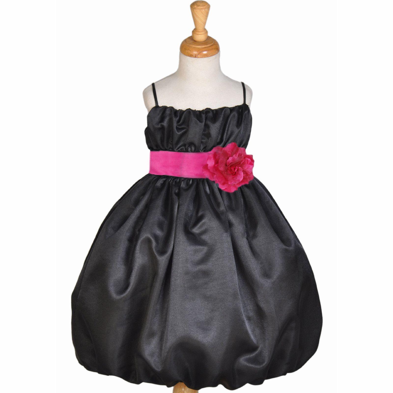 Black fuchsia pink holiday wedding pageant toddler flower girl dress