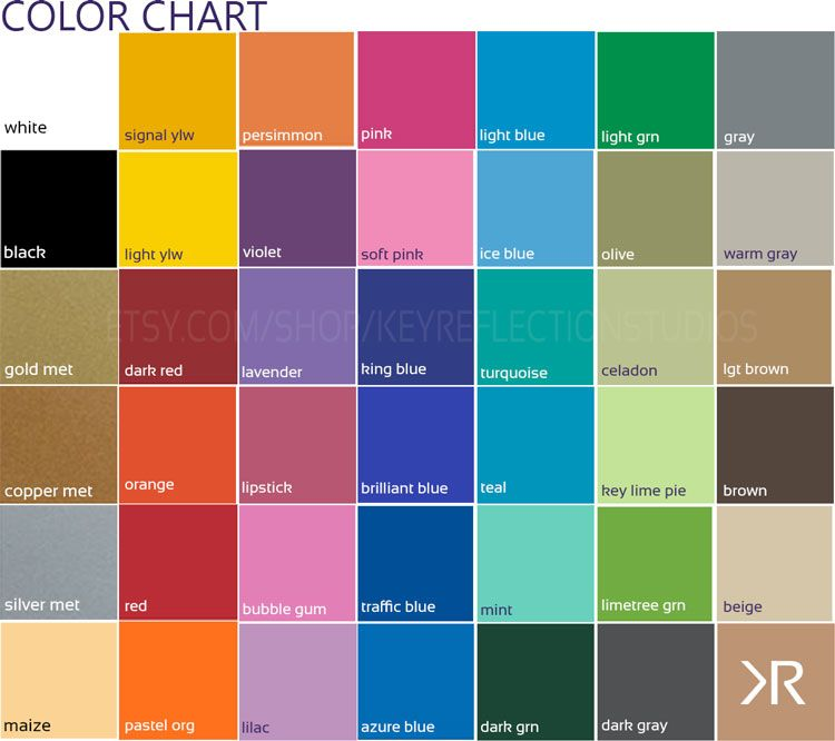 Check Out Our Color Chart Featuring  Colors Color Samples Are