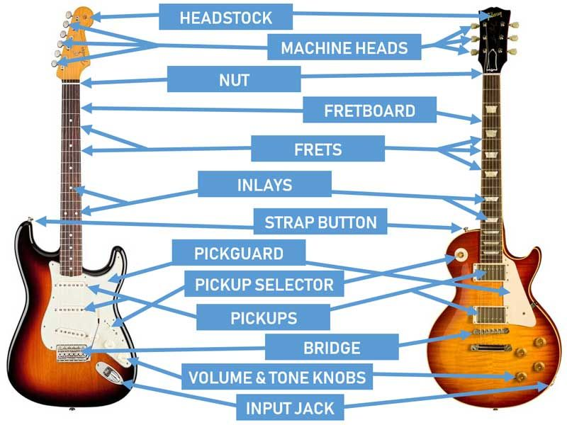 Parts Of The Guitar Diagrams For Acoustic And Electric Guitars Guitar Gear Finder Kids Electric Guitar Guitar Guitar For Beginners