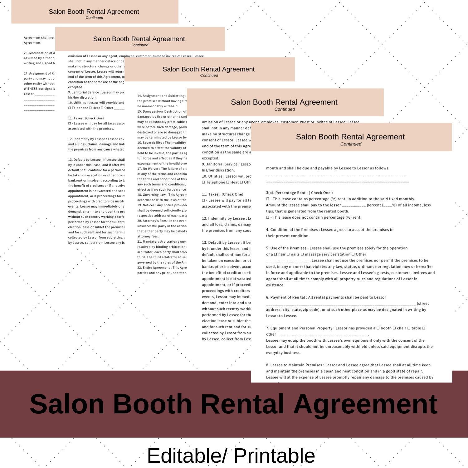 Hair Stylist Booth Rental Agreement Contract Instant Etsy