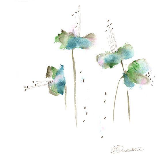 Fleur Verte Aquarelle Imprimer Ensemble Art Abstrait Botanique