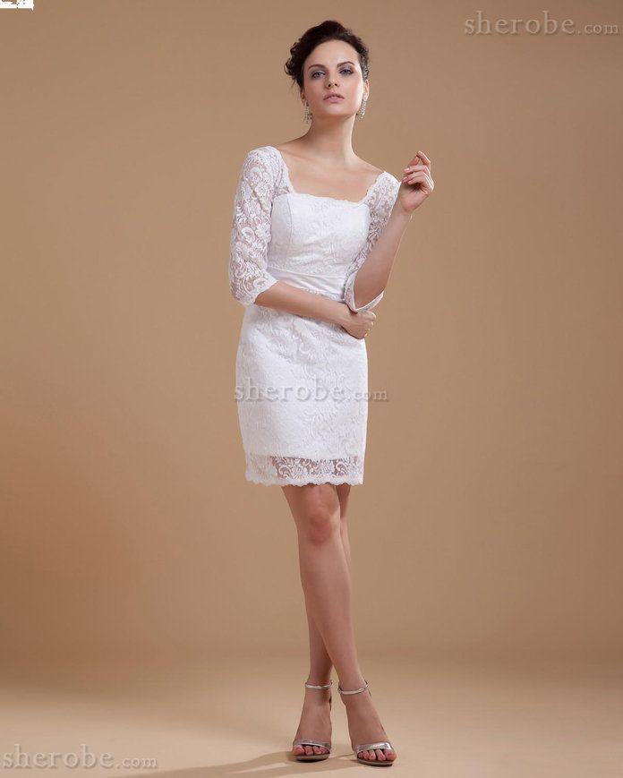 Outdoor Spitze Halbe Ärmeln Durchsichtiges Brautkleid mit Gürtel mit Reißverschluss - Bild 1