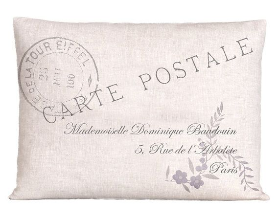 Vintage Style Linen French Pillow Cover by ScandinavianElements, $22.00