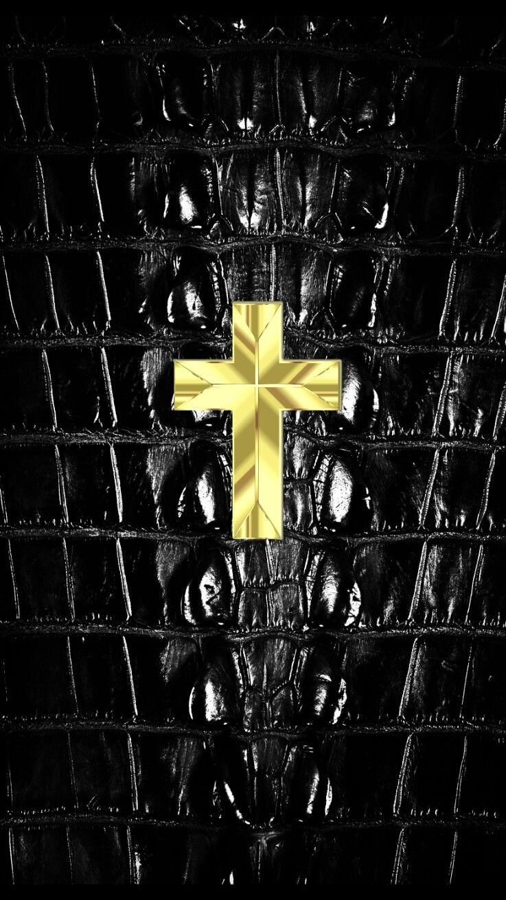 Small gold cross on dragon skin iPhone wallpaper Cross