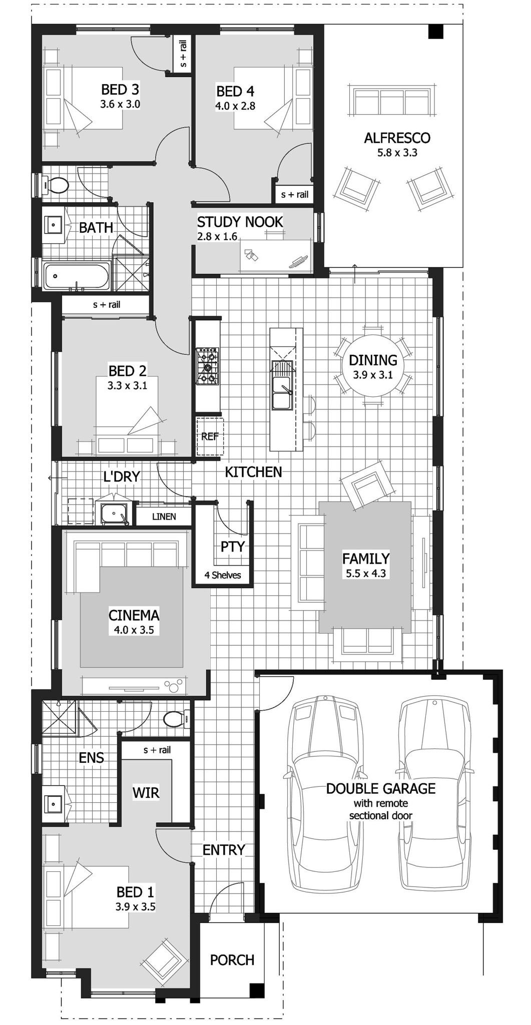 Floor Plan Ideas For Different Areas In 2020 Narrow Lot House Plans House Plans Australia Single Storey House Plans