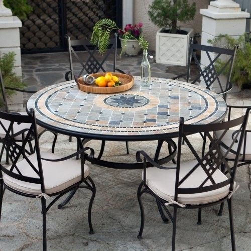 Palazetto Barcelona Round Mosaic Patio Dining Set   Seats 6   Contemporary    Patio Furniture And Outdoor Furniture   Hayneedle