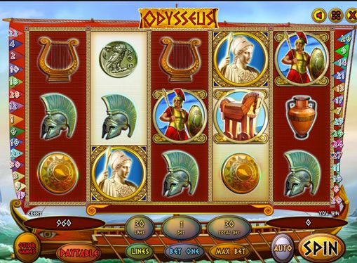Odysseus spille for ekte penger. Tegnet av denne sporene var greske helten Odysseus og derfor kalte de selve spillet. Det er 5 hjul og 30 gevinstlinjer. Det er et Wild symbol og en Scatter. Med sistnevnte, kan du tjene fra 10 til 100 bonusspinn. Odysseus omfatter også spilleautomat risiko spill som lar flere ganger for å øke pe