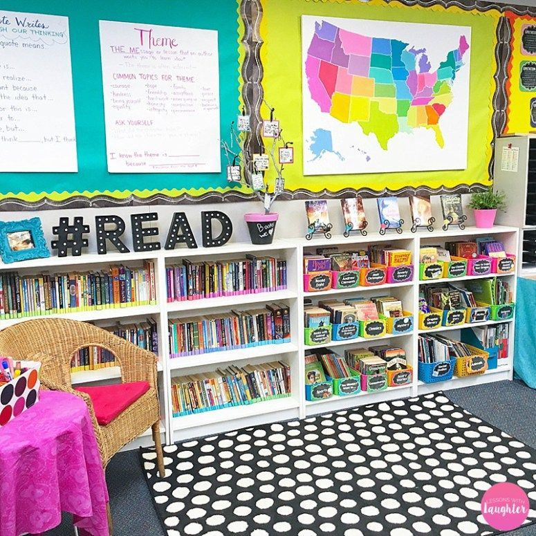 Colorful classroom library organization ideas from lessons